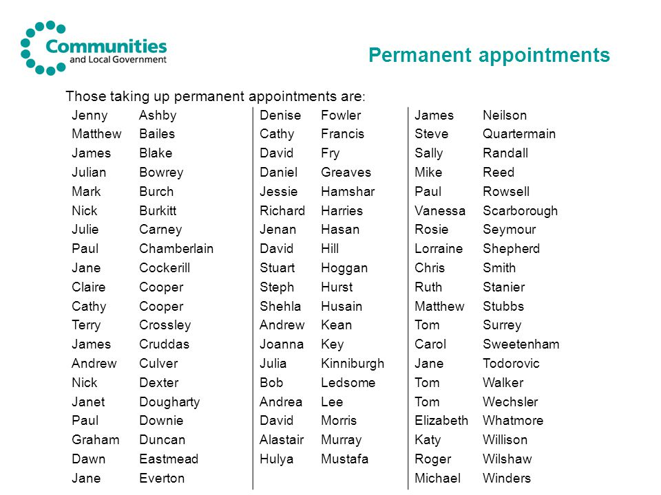 Permanent appointments