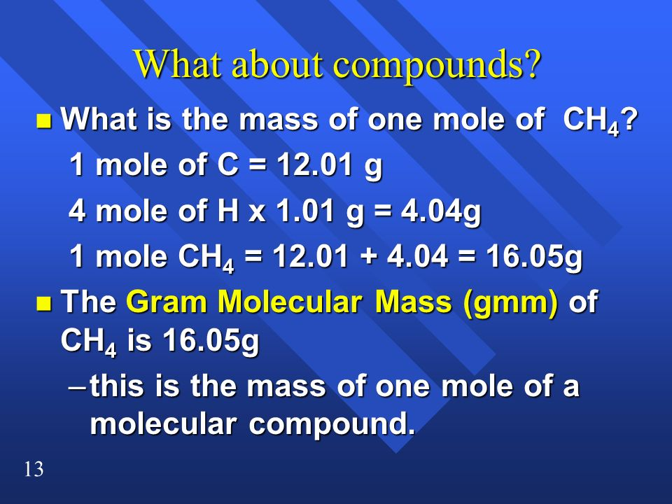 What about compounds What is the mass of one mole of CH4