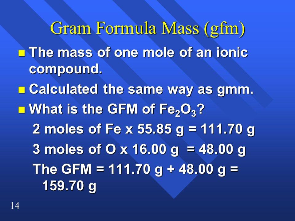 Gram Formula Mass (gfm)