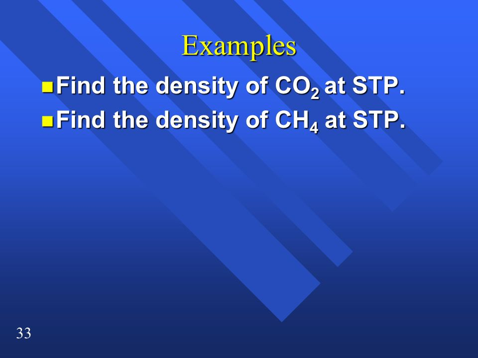 Examples Find the density of CO2 at STP.