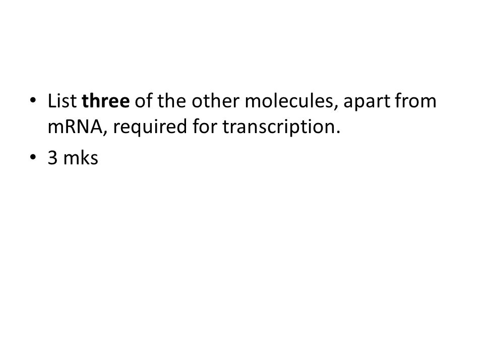 List three of the other molecules, apart from mRNA, required for transcription.