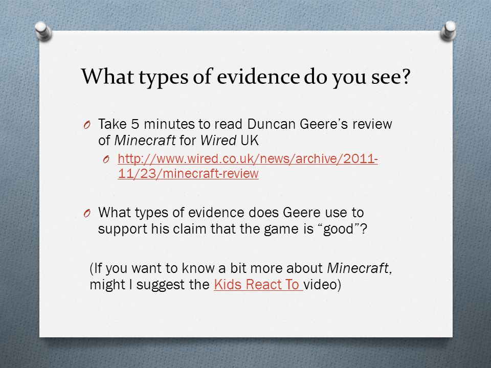 What types of evidence do you see