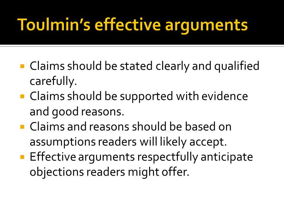 Toulmin's effective arguments