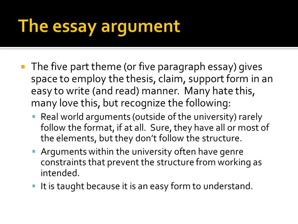 The essay argument