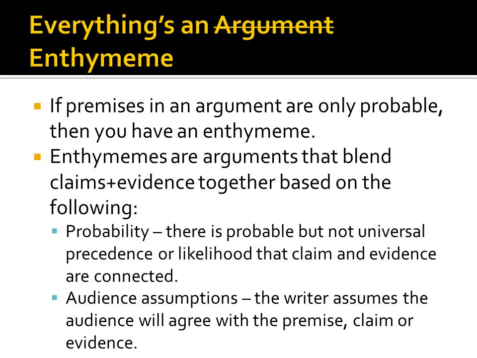 Everything's an Argument Enthymeme