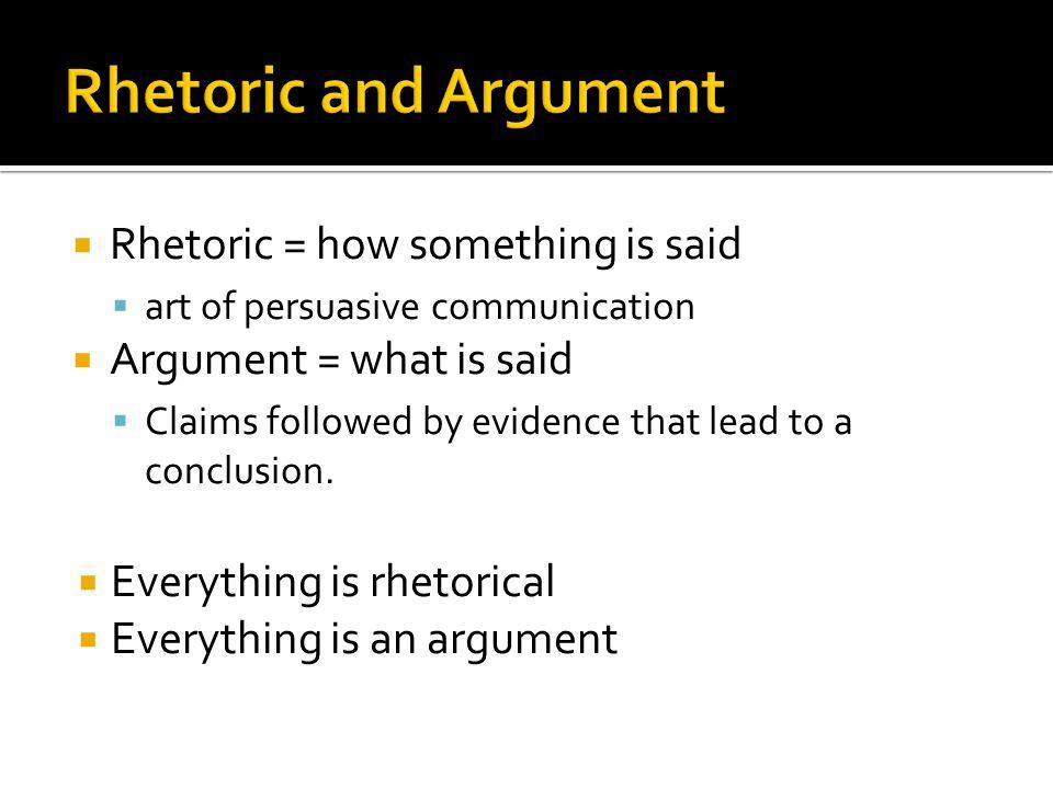 Rhetoric and Argument Rhetoric = how something is said