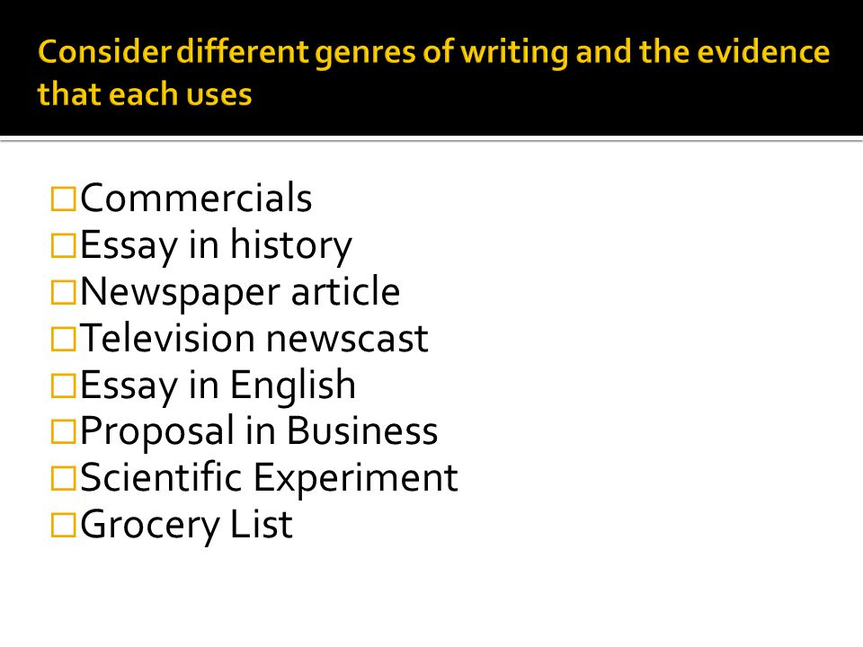 Consider different genres of writing and the evidence that each uses