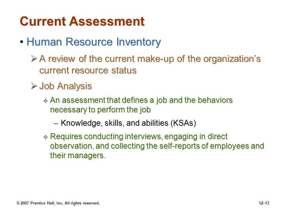 Current Assessment Human Resource Inventory