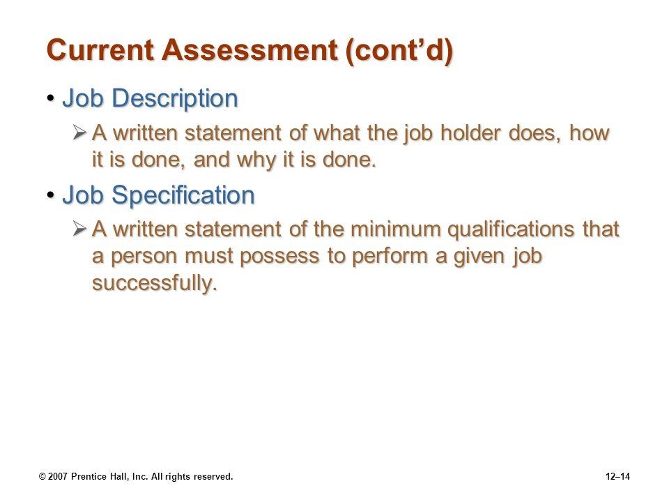 Current Assessment (cont'd)