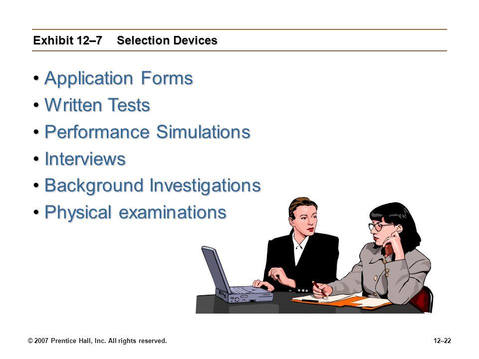 Exhibit 12–7 Selection Devices