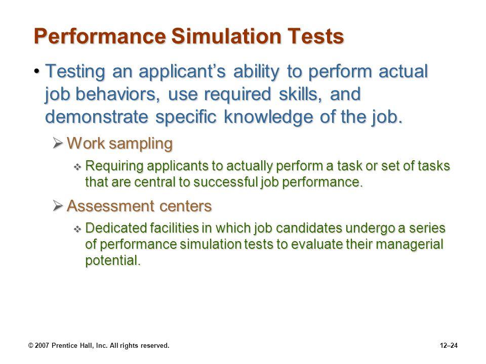 Performance Simulation Tests