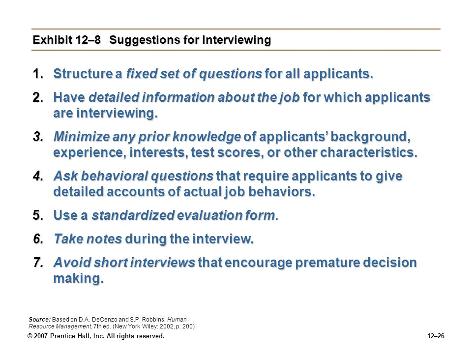 Exhibit 12–8 Suggestions for Interviewing