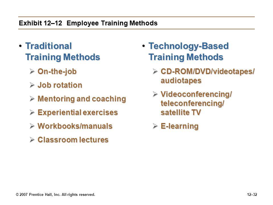 Exhibit 12–12 Employee Training Methods