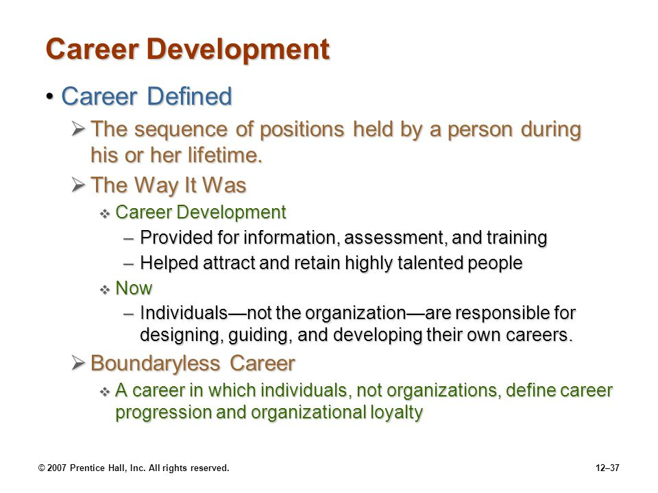 Career Development Career Defined