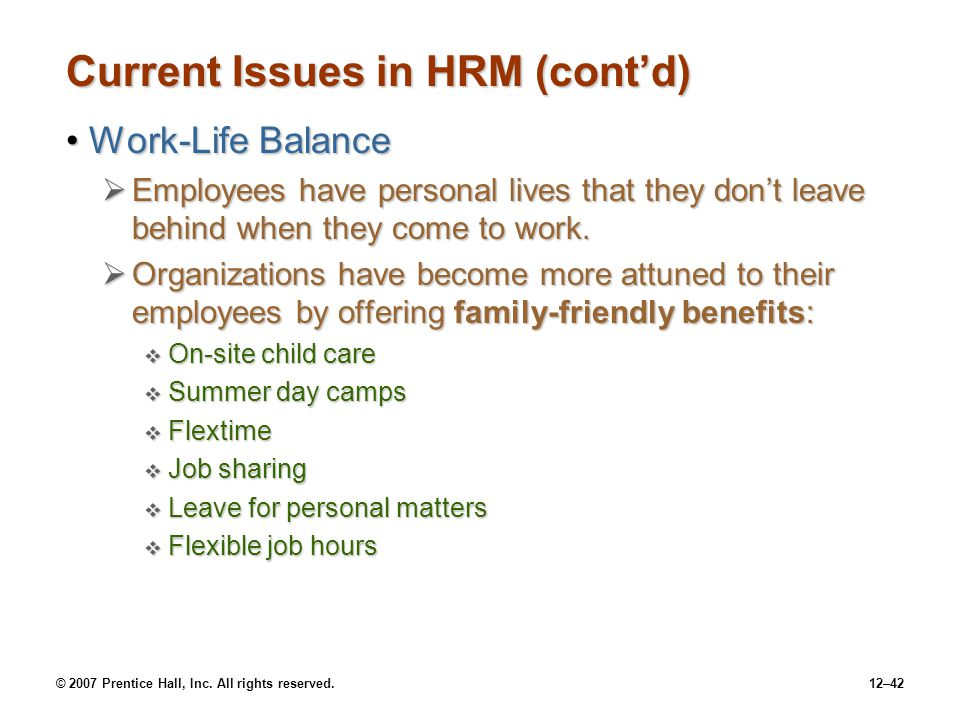 Current Issues in HRM (cont'd)