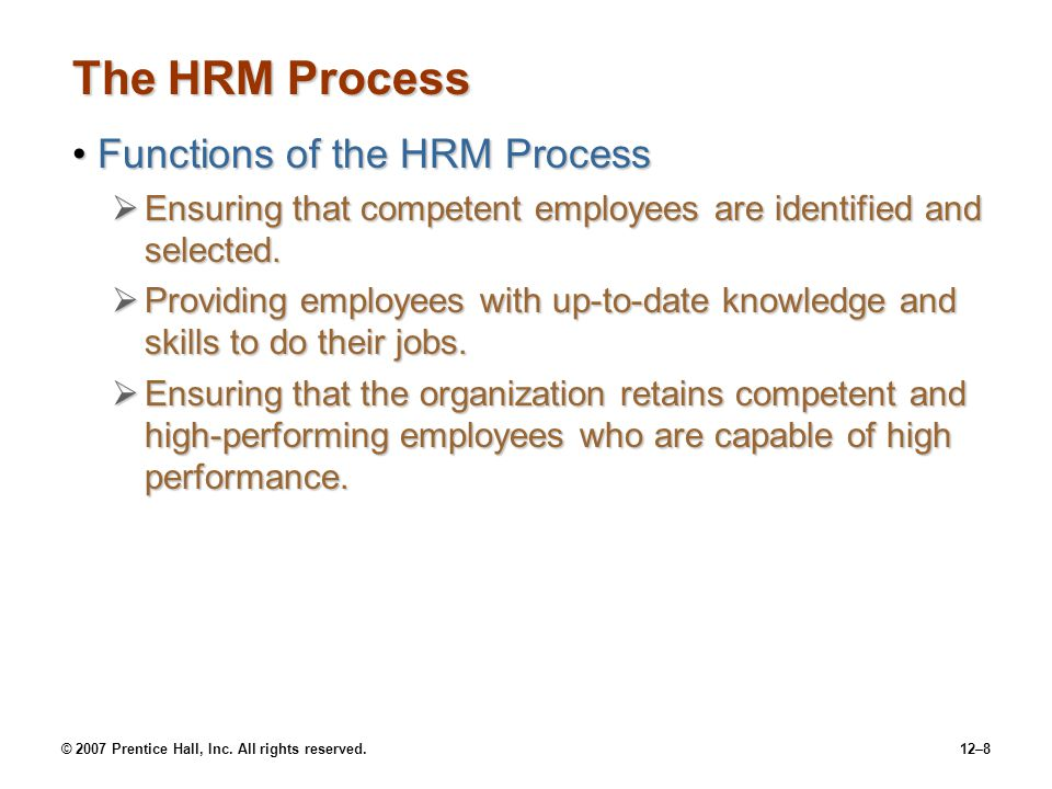 The HRM Process Functions of the HRM Process