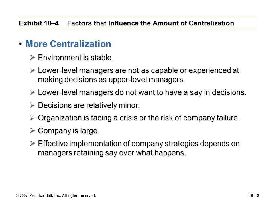 Exhibit 10–4 Factors that Influence the Amount of Centralization