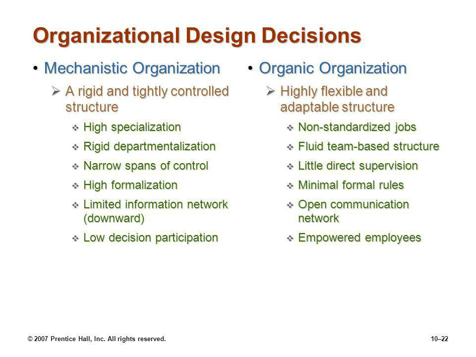 Organizational Design Decisions