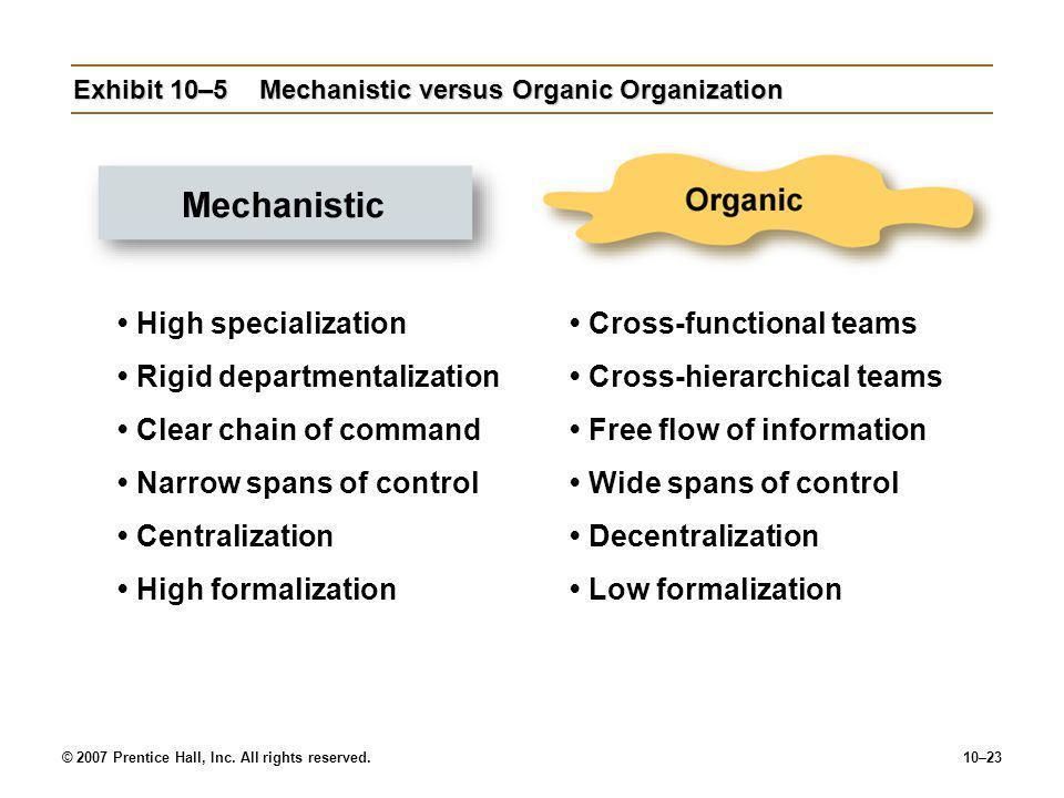 Exhibit 10–5 Mechanistic versus Organic Organization