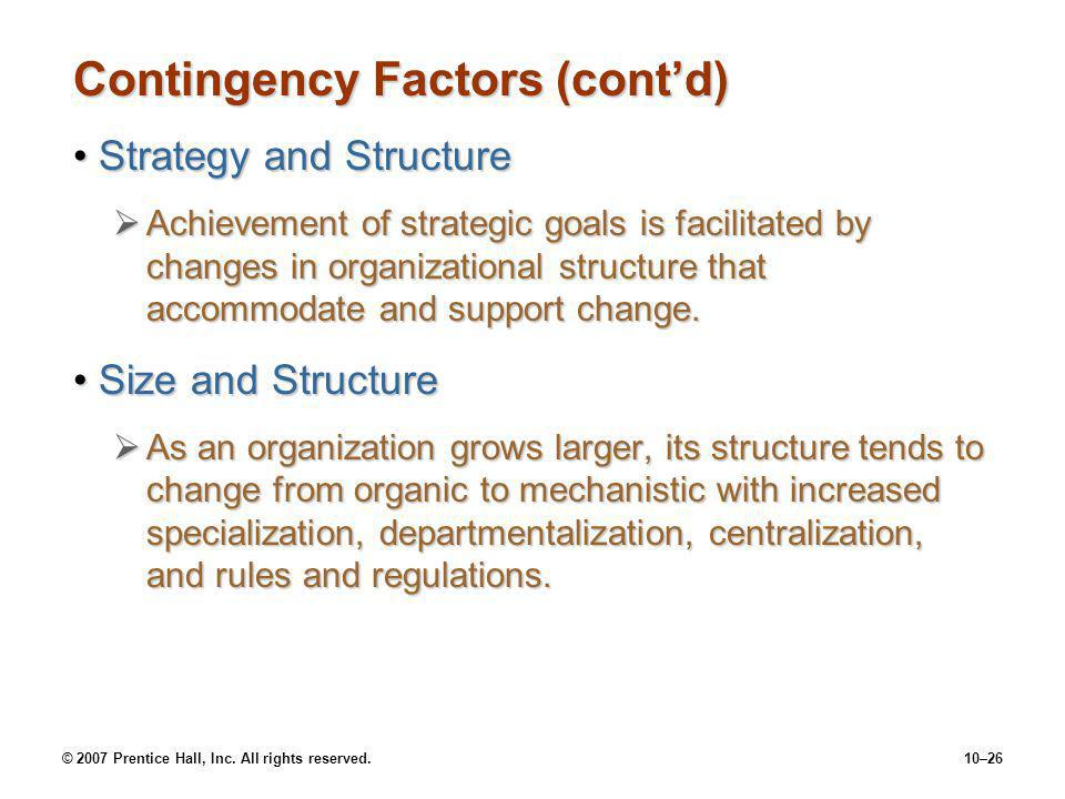Contingency Factors (cont'd)