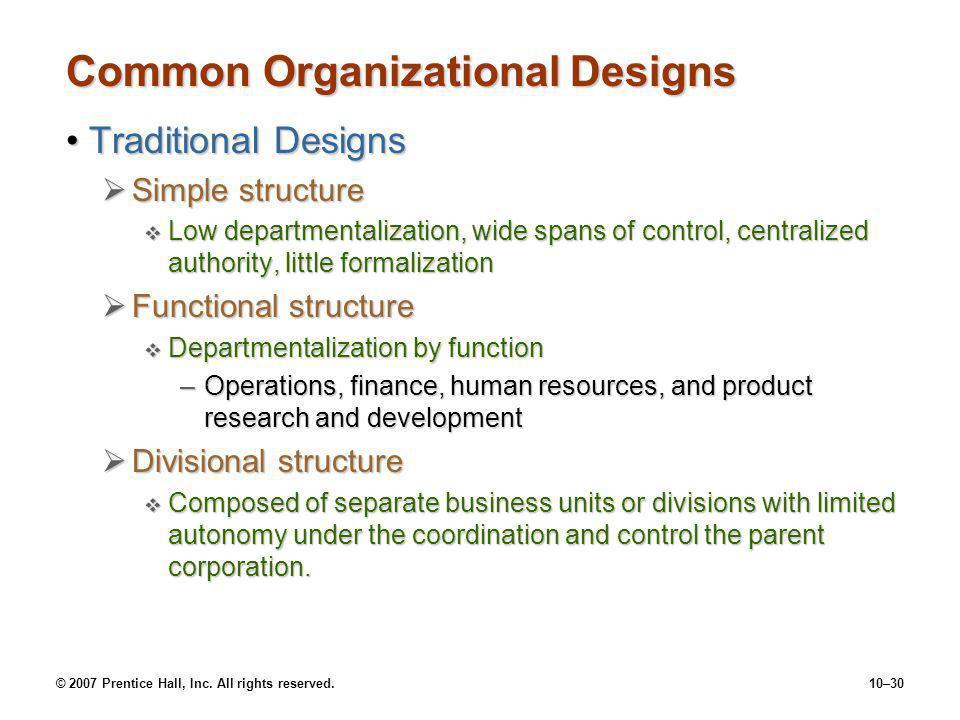 Common Organizational Designs