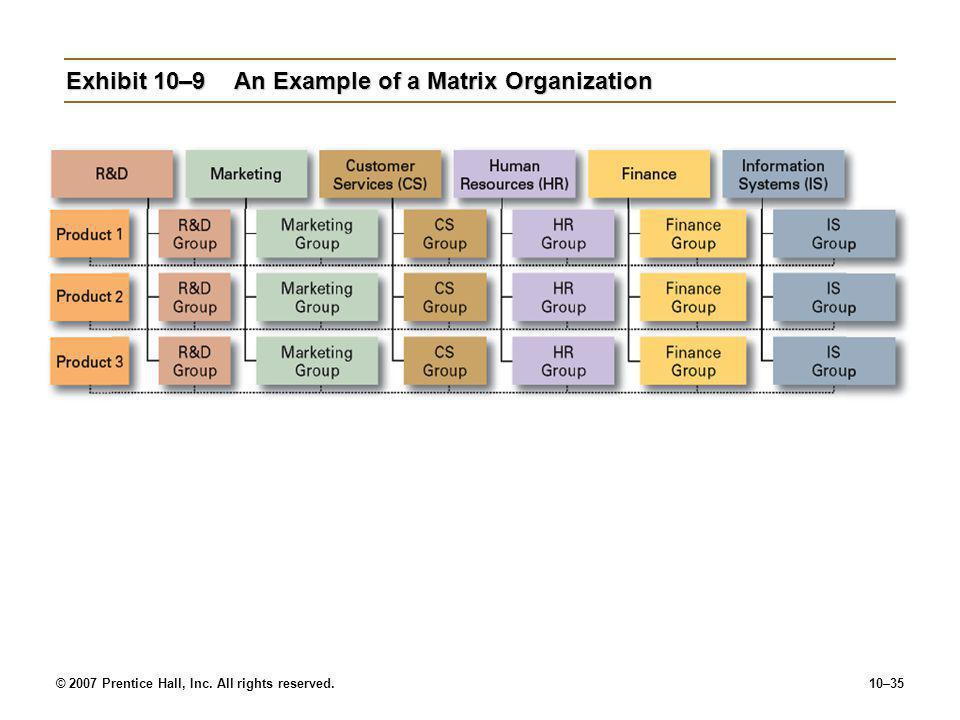 Exhibit 10–9 An Example of a Matrix Organization