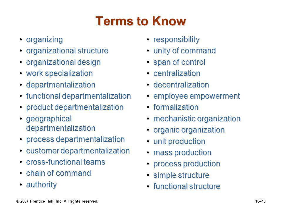 Terms to Know organizing organizational structure
