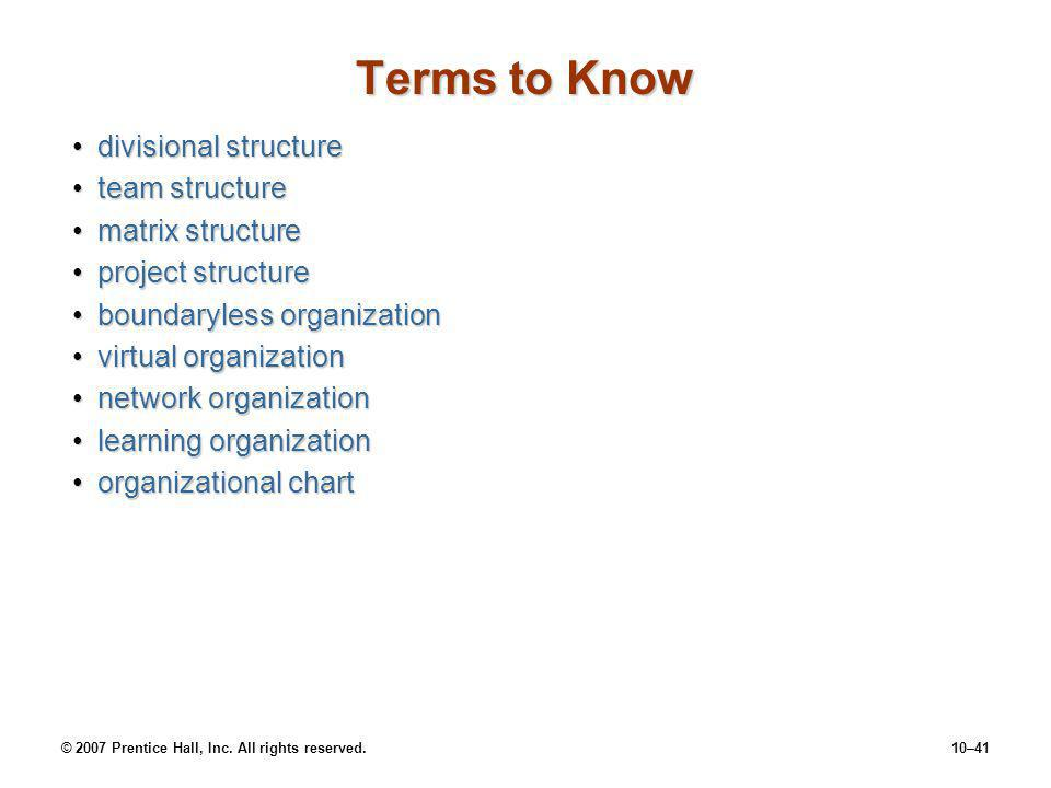 Terms to Know divisional structure team structure matrix structure