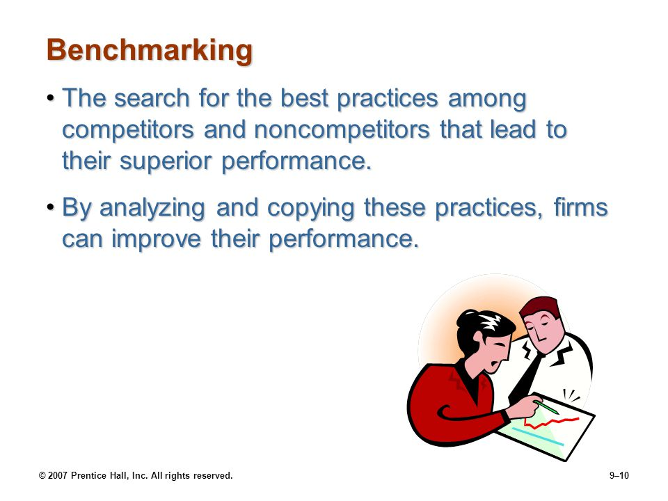Benchmarking The search for the best practices among competitors and noncompetitors that lead to their superior performance.
