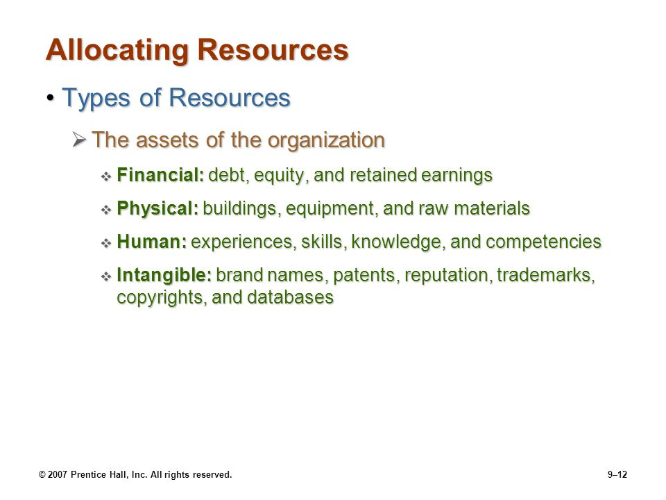 Allocating Resources Types of Resources The assets of the organization