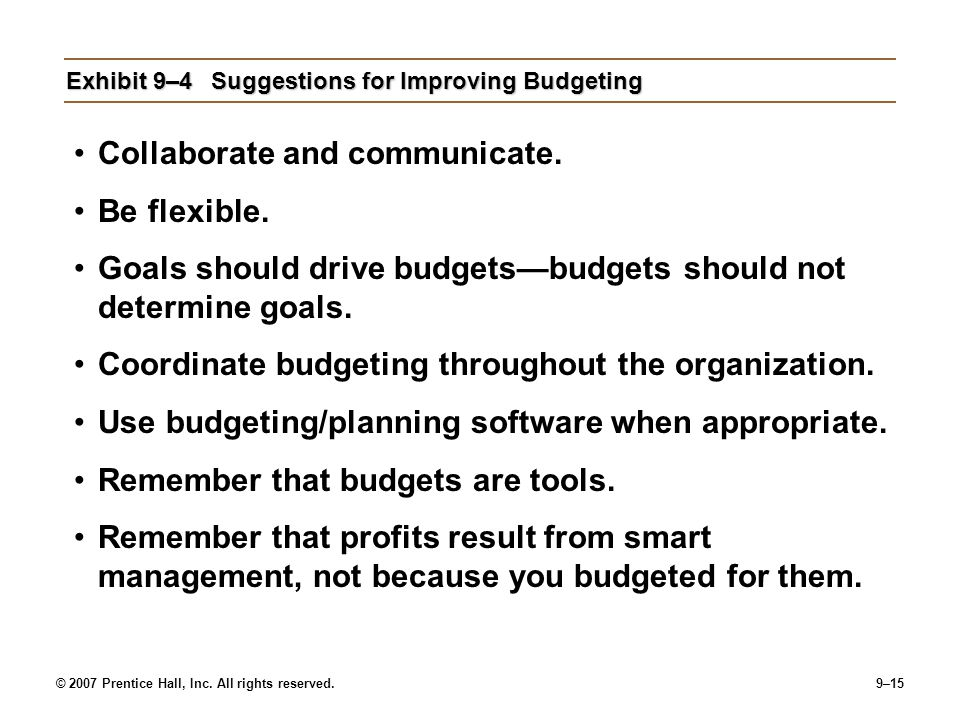 Exhibit 9–4 Suggestions for Improving Budgeting