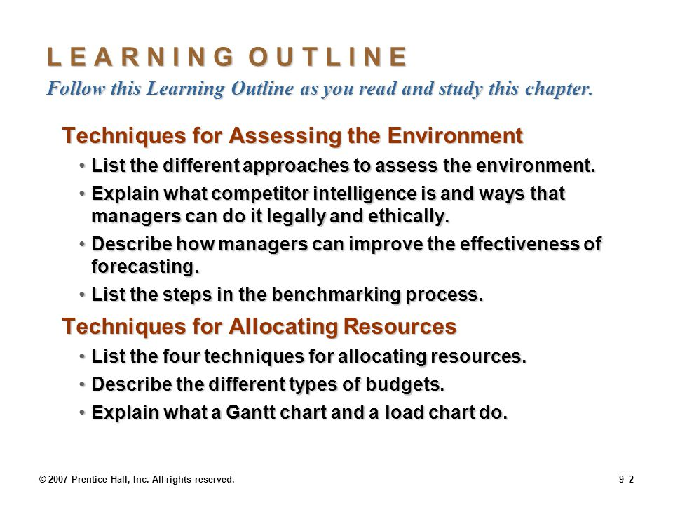 L E A R N I N G O U T L I N E Follow this Learning Outline as you read and study this chapter.