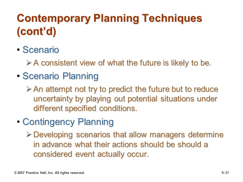 Contemporary Planning Techniques (cont'd)