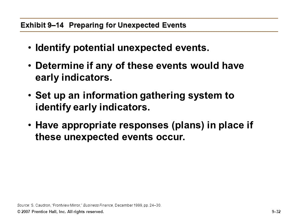 Exhibit 9–14 Preparing for Unexpected Events