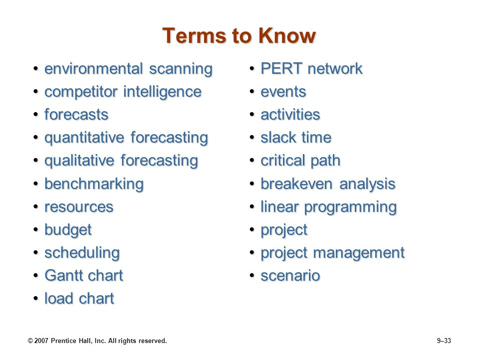 Terms to Know environmental scanning competitor intelligence forecasts
