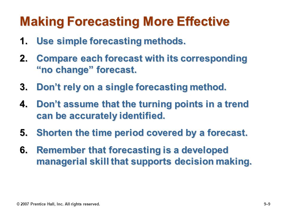 Making Forecasting More Effective