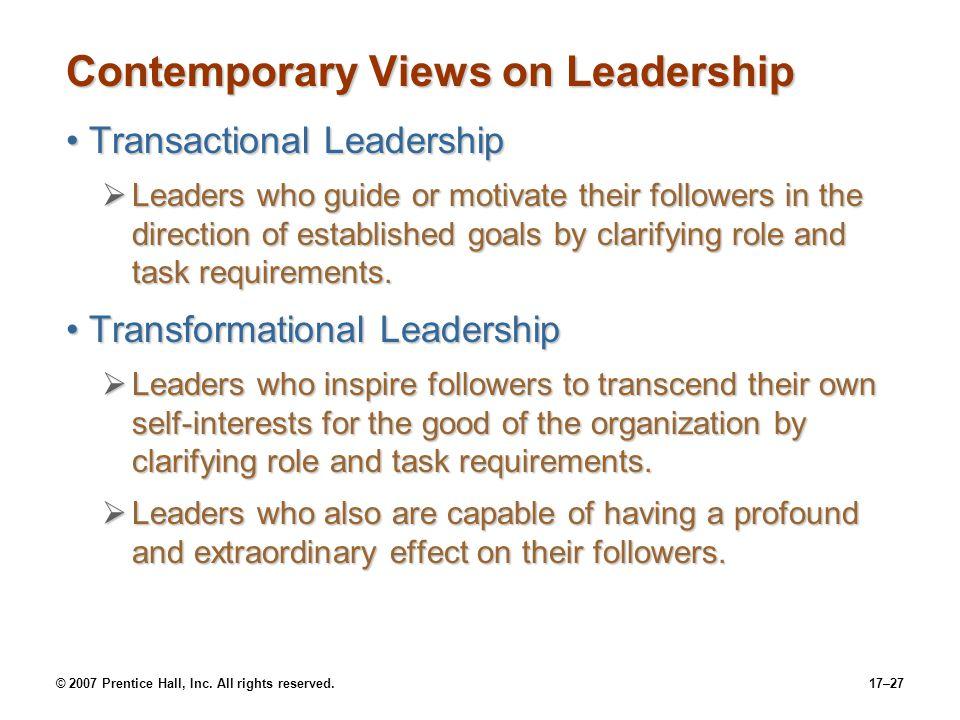 Contemporary Views on Leadership