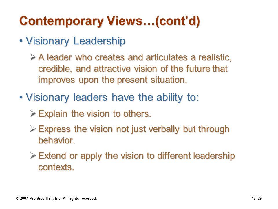 Contemporary Views…(cont'd)