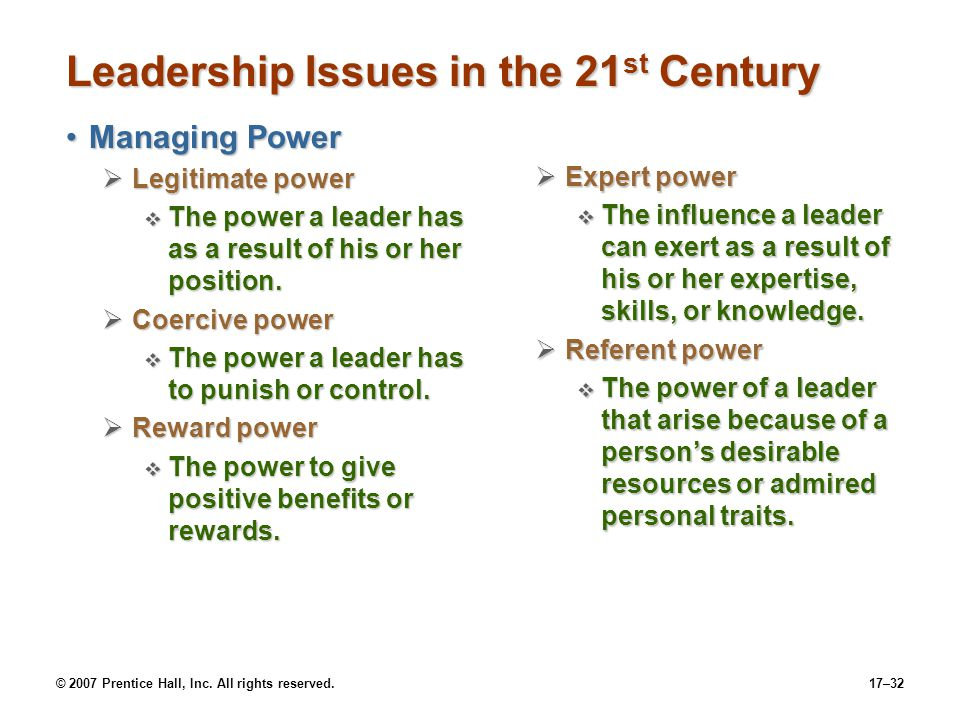 Leadership Issues in the 21st Century