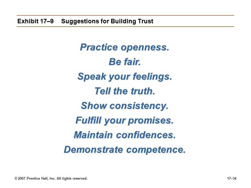 Exhibit 17–9 Suggestions for Building Trust