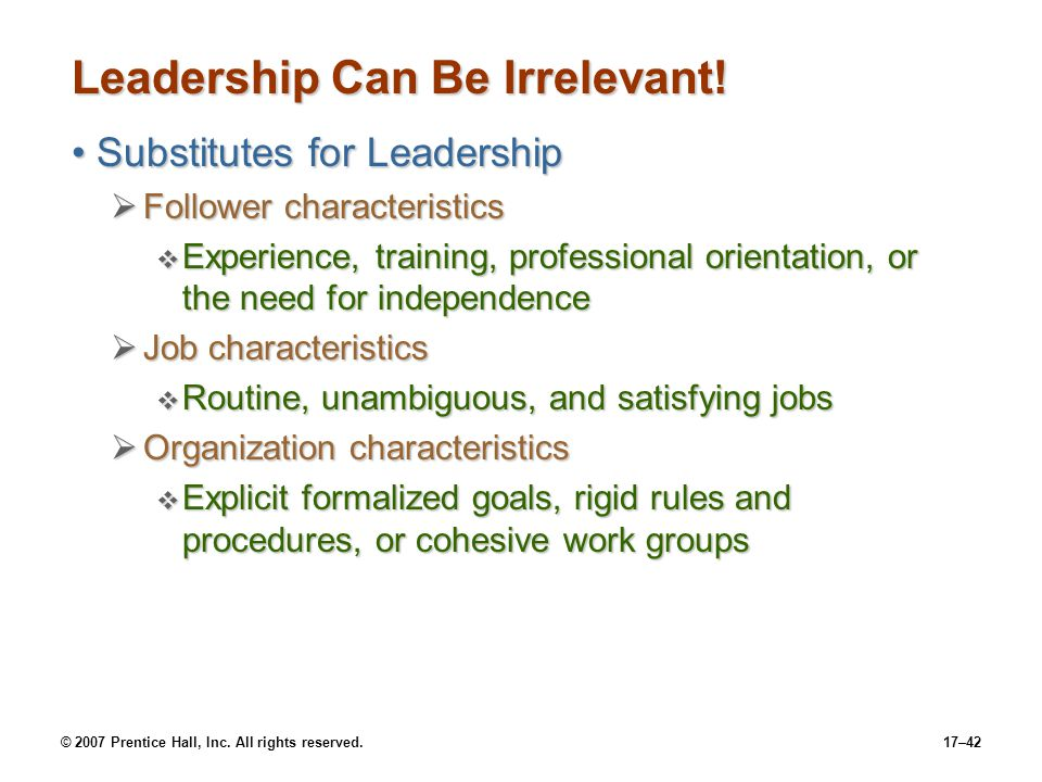 Leadership Can Be Irrelevant!