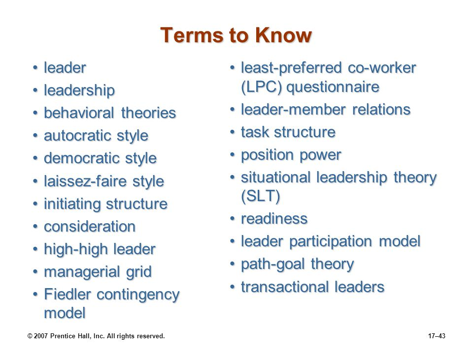 Terms to Know leader leadership behavioral theories autocratic style