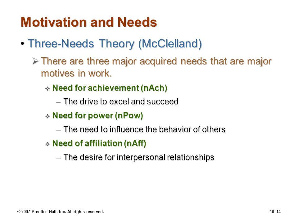 Motivation and Needs Three-Needs Theory (McClelland)