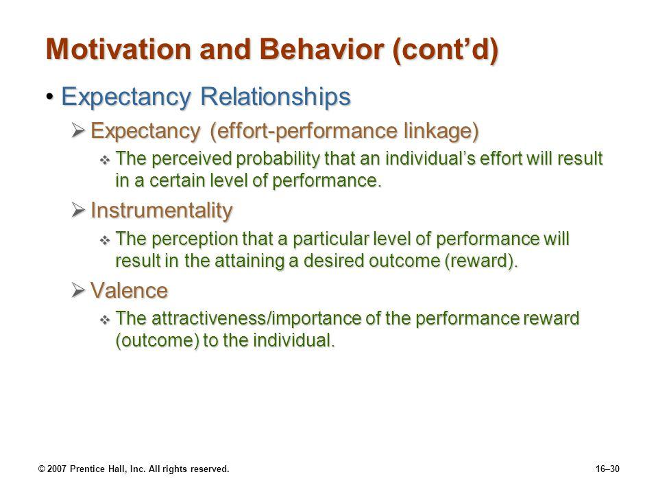 Motivation and Behavior (cont'd)