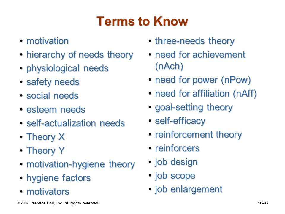 Terms to Know motivation hierarchy of needs theory physiological needs