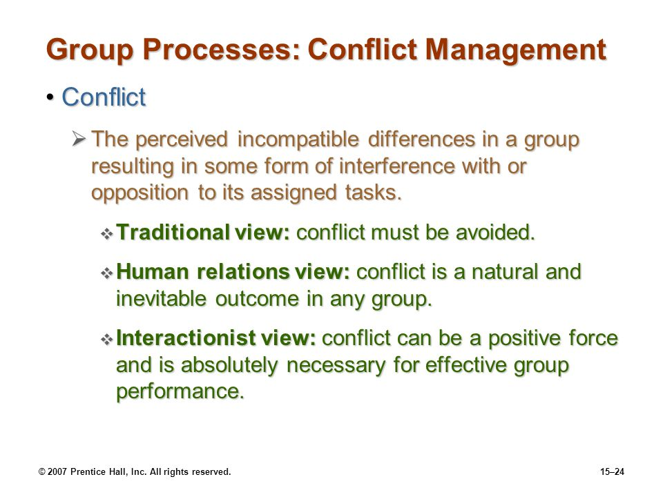 Group Processes: Conflict Management