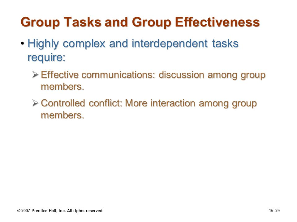 Group Tasks and Group Effectiveness