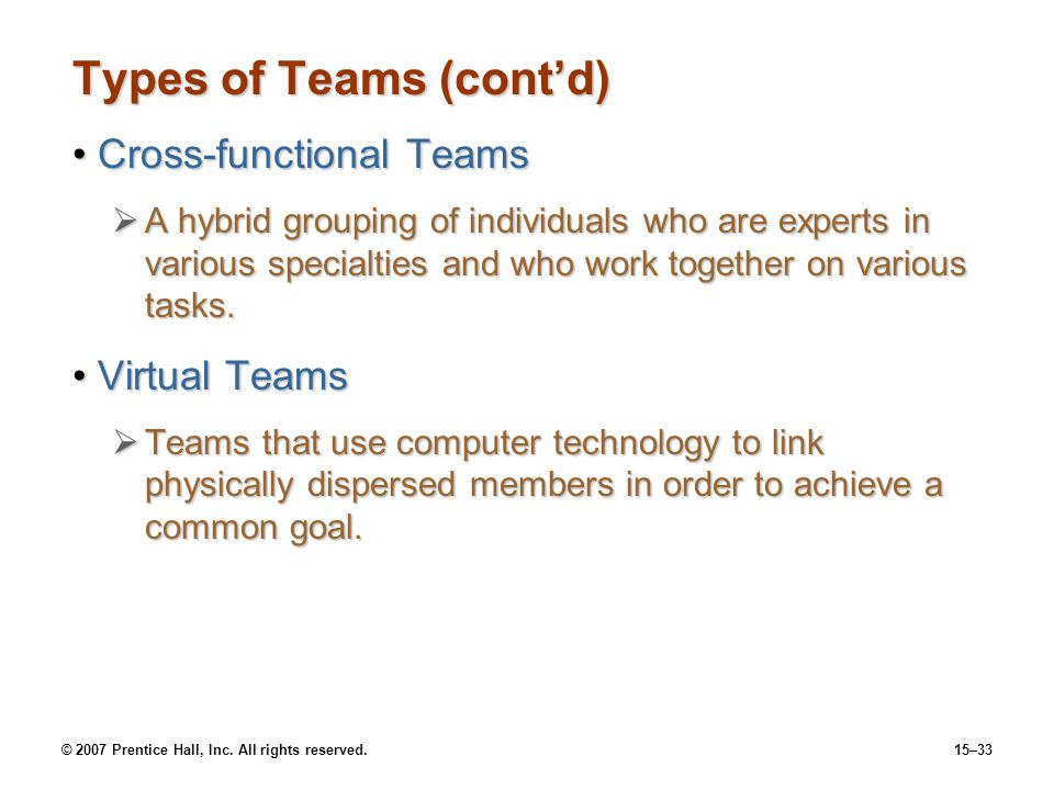 Types of Teams (cont'd)