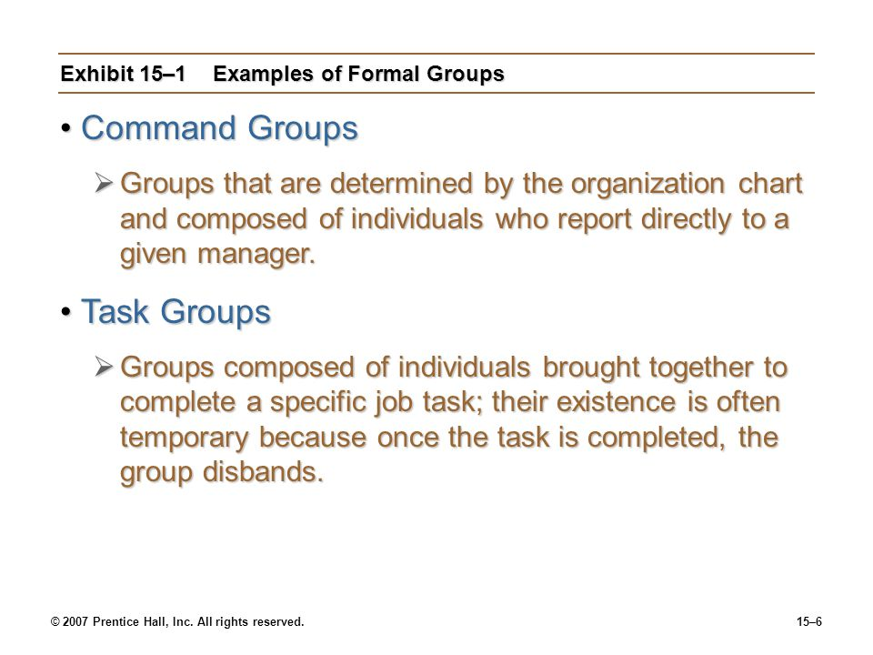 Exhibit 15–1 Examples of Formal Groups