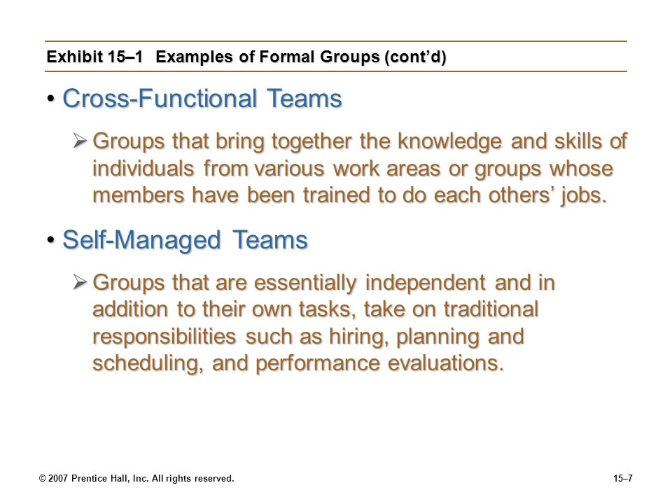 Exhibit 15–1 Examples of Formal Groups (cont'd)